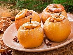 Пълнени печени ябълки със сушени плодове, мед, ром и орехи - снимка на рецептата